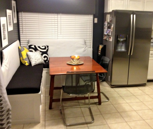 Finished banquette + kitchen