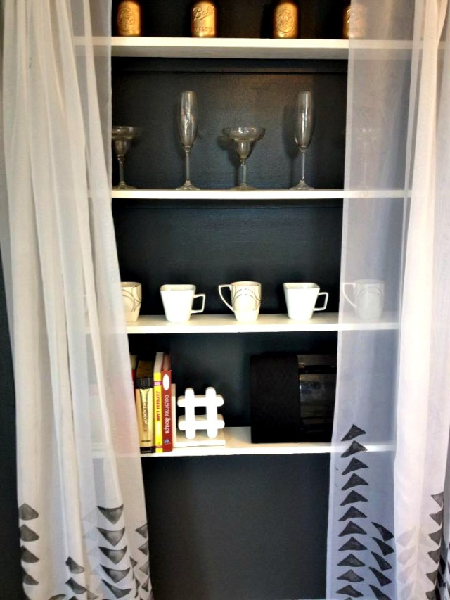 Open shelving with curtains